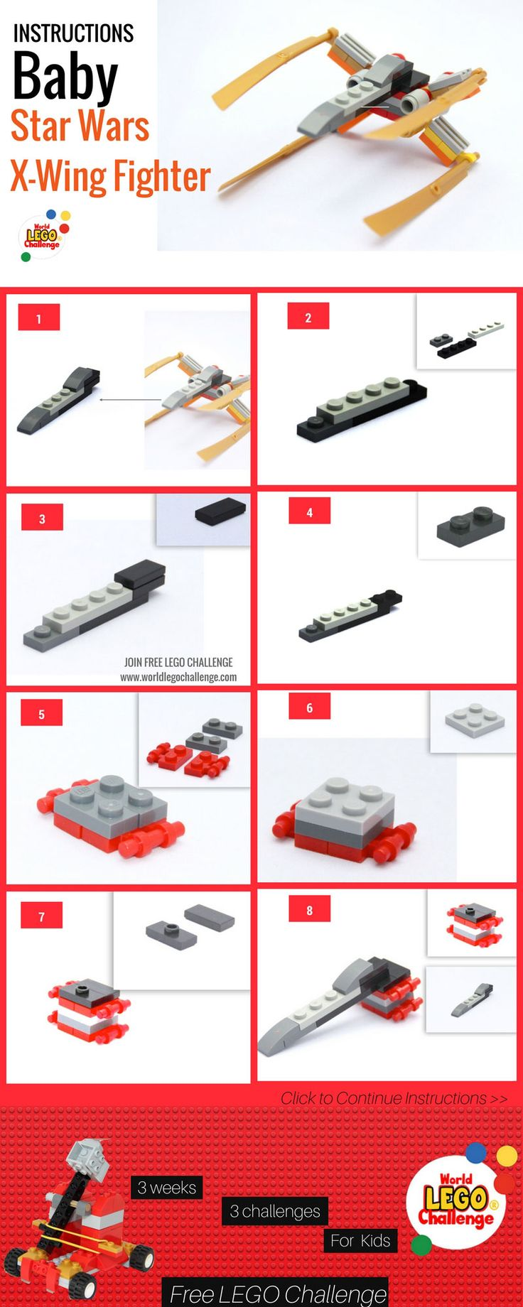 #Lego #Star #Wars #X  #Wing #Instructions (#Mini – Pocket Size) . Build Your Own LEGO Mini Star Wars X Wing #Ship – Pocket sized LEGO x wing! This is part of the FREE World Lego challenge for #Kids that takes part online 4 times a year.  Here are instructions for the X-Wing . you are welcome to join the Next World Lego Challenge #infographic #ships #ideas #creations #moc #baby #mini #x-wing