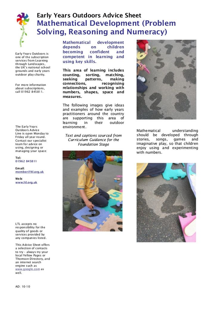 mathematical-development-early-years-outdoors-learning by KlausGroenholm via Slideshare