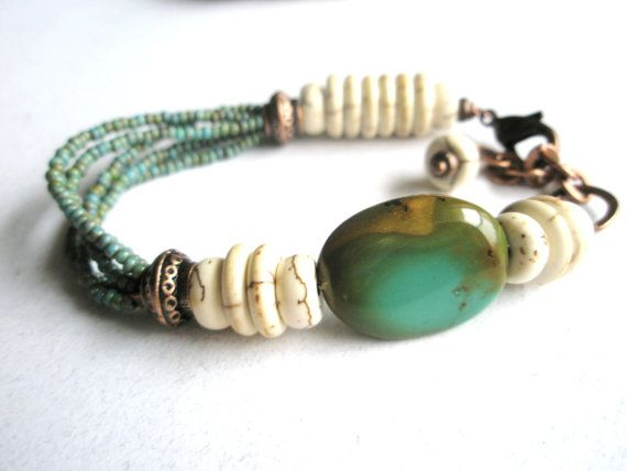 Materials: turquoise, white turquoise howlite, copper spacer beads, czech glass beads, copper chain, copper lobster claw clasp esdesigns65, etsy, sold