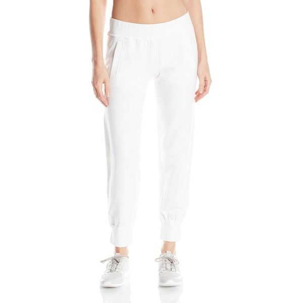 Norma Kamali Women's French Terry Jog Pant in White ($102) ❤ liked on Polyvore featuring pants, white trousers, white jogger pants, jogger pants, white pants and norma kamali