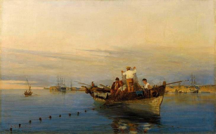 (Ρίχνοντας τα δίχτυα - Κωνσταντίνος Βολανάκης)Η θάλασσα, όντας το καθρέφτισμα της κάθε στιγμής του ουρανού, νανουρίζει το αιώνιο όνειρο της ζωής. Με τους ορίζοντες στα μπλε, κυανίζει. Σαν πληθαίνουν οι ώρες, μπλαβίζει και συνοφρυώνεται.Δ.Λιαντίνης