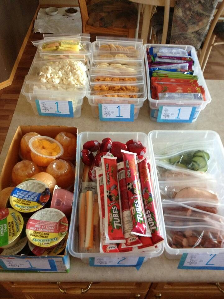 Mom bins for school days. The child picks from each bin the number of things on the bin fir their lunch. Many choices...all food groups. - Perfect for the #myplate balanced eating approach.