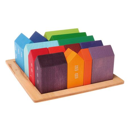This activity will help them with their curiosity about houses, learn the shapes and colors. This will help them with their problem solving skills when they fit these blocks in this tray.