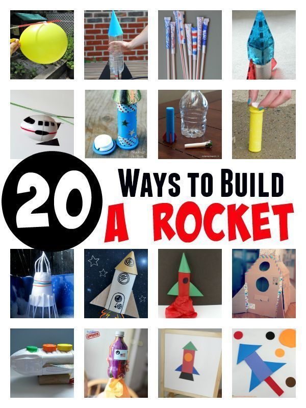 20 ways to build a rocket. Great rocket science experiments and rocket crafts for kids.