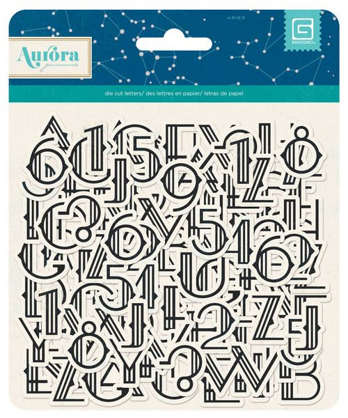 BasicGrey - Aurora Collection - Printed Chipboard Stickers - Letters at Scrapbook.com