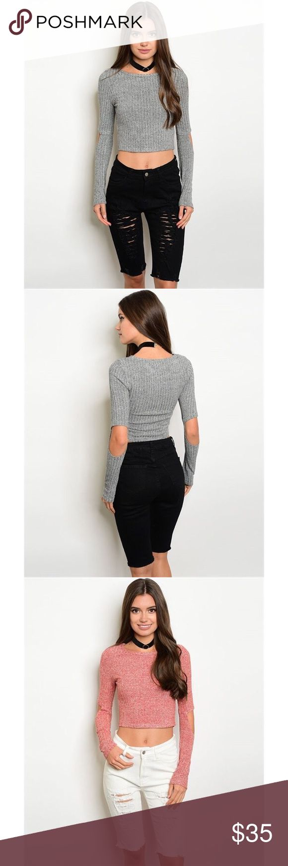 "Gray long sleeve crop top sweater Long sleeve open elbow detail marbled fabric ribbed crop top in heather gray. also available in pink(see separate listing). Fabric Content: 75% POLYESTER 20% RAYON 5% SPANDEX. measurements for a size small: L: 17"" B: 26"" W: 26"". ONLY CONSIDERING OFFERS THROUGH THE ""OFFER"" BUTTON. No trades, no off App transactions. Any questions can be addressed below. Available: 2 Small, 1 Medium, 2 Large Tops Crop Tops"
