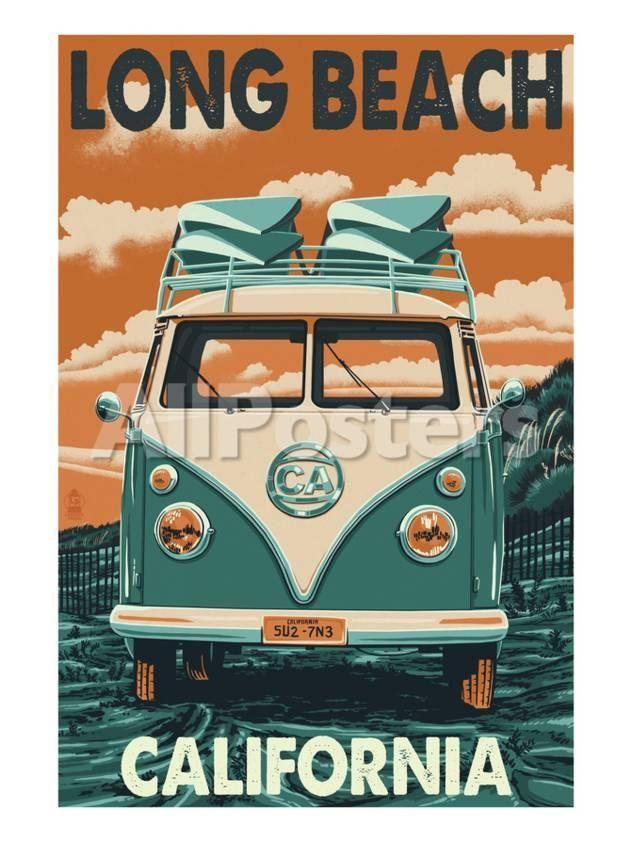 long beach california vw van by everett spruill landscapes art print 46 x 61 cm vintage posters vintage travel posters vw van pinterest