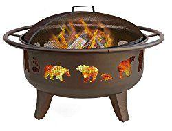 Landmann 23875 Fire Dance Bear and Paw Fire Pit, 30-Inch, Metallic Brown