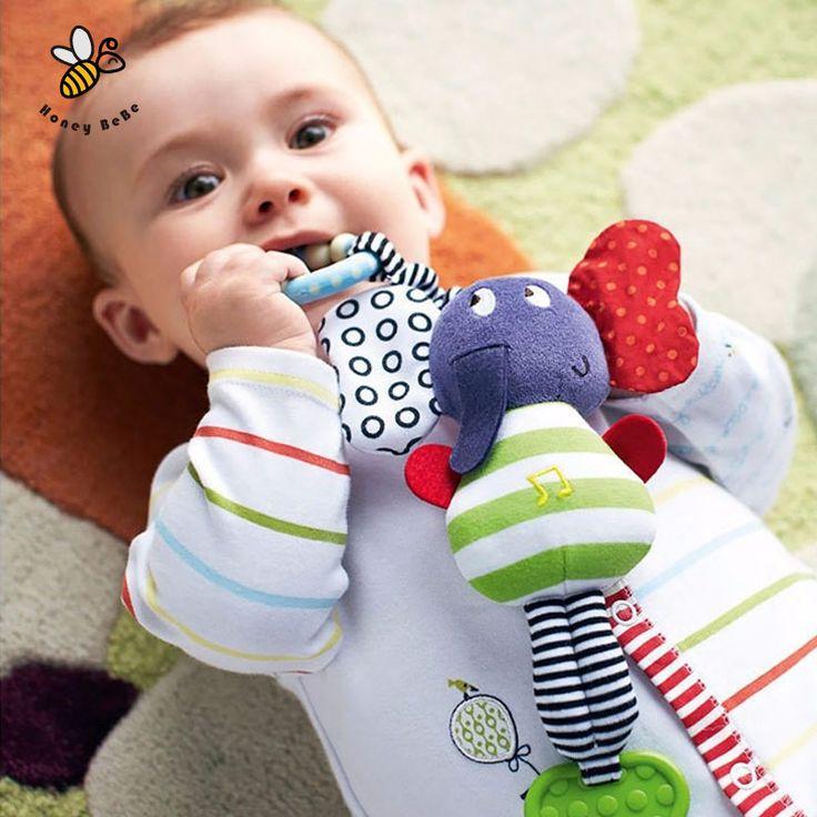 الموسيقى الفيل الطفل اللعب راتل ألعاب تعليمية عضاضة الرضع القطيفة الطفل لعب الرغوة المحمول السرير سيارة معلق خشخيشات عربة
