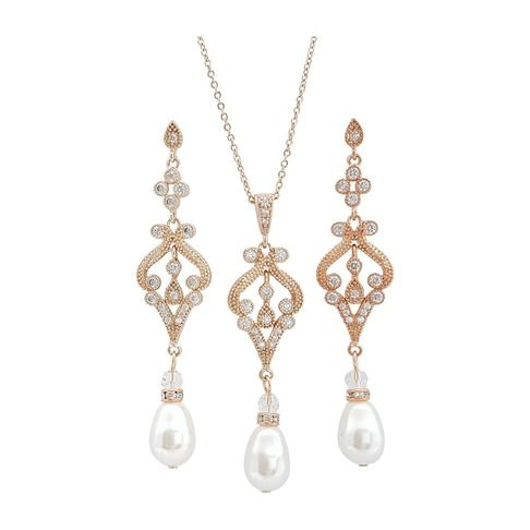 Rose gold plated necklace and Earrings jewelry set