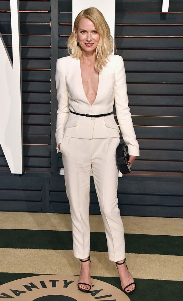 Naomi Watts wearing an ivory Giorgio Armani pant suit with a plunging neckline at the 2015 Vanity Fair Oscars After-Party