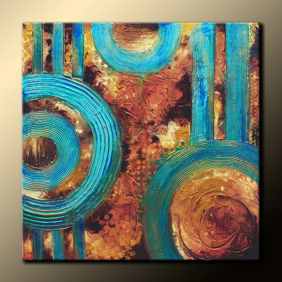 TEXTURED Abstract Painting Original 30x30 on Canvas. Earth Tones, Teal, Brown & Gold Fine Art by Maria Farias on Etsy, $300.00