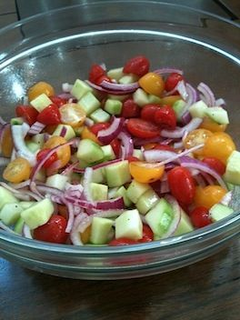 Tomato Cucumber Salad. Verdict: SO GOOD!! Better the second day, but still really good day one too. A great side dish to a BBQ. Make again. Easy to throw together!