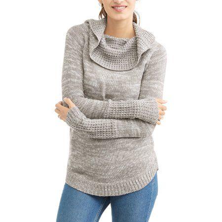Sezzit Women's Cowl Neck Sweater, Size: Medium, Gray