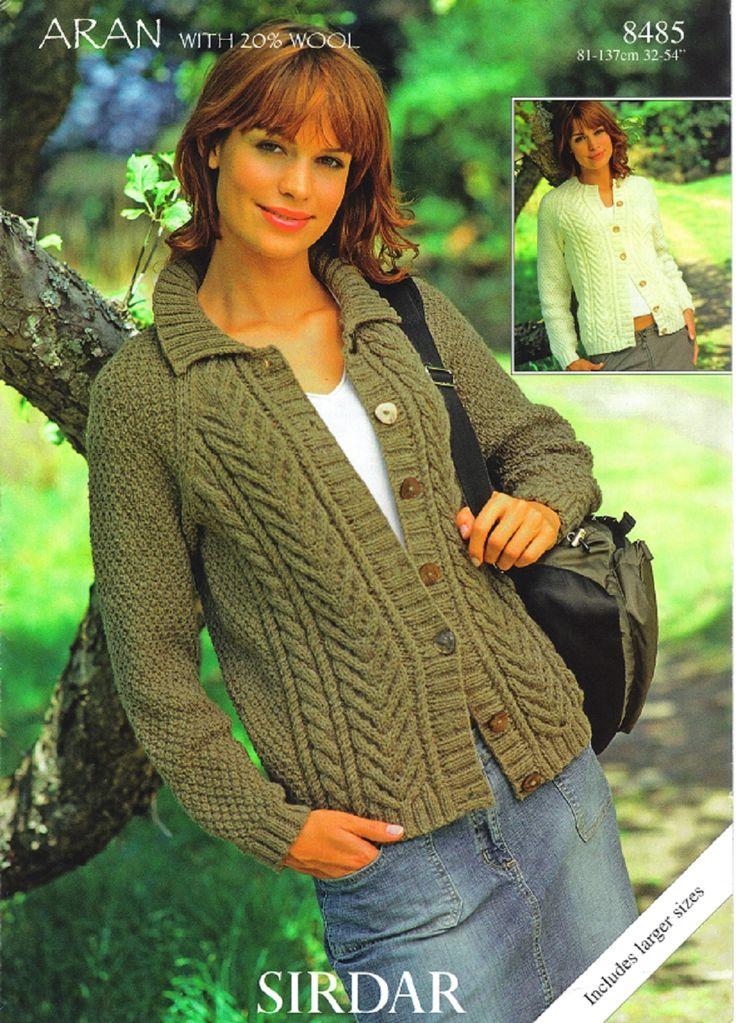Sirdar Knitting Pattern 8485, Aran, Ladys Cardigans
