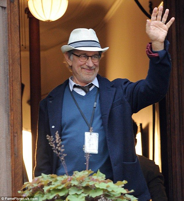 The happy man at work: Spielberg is in New York to work on his latest movie with Tom Hanks...