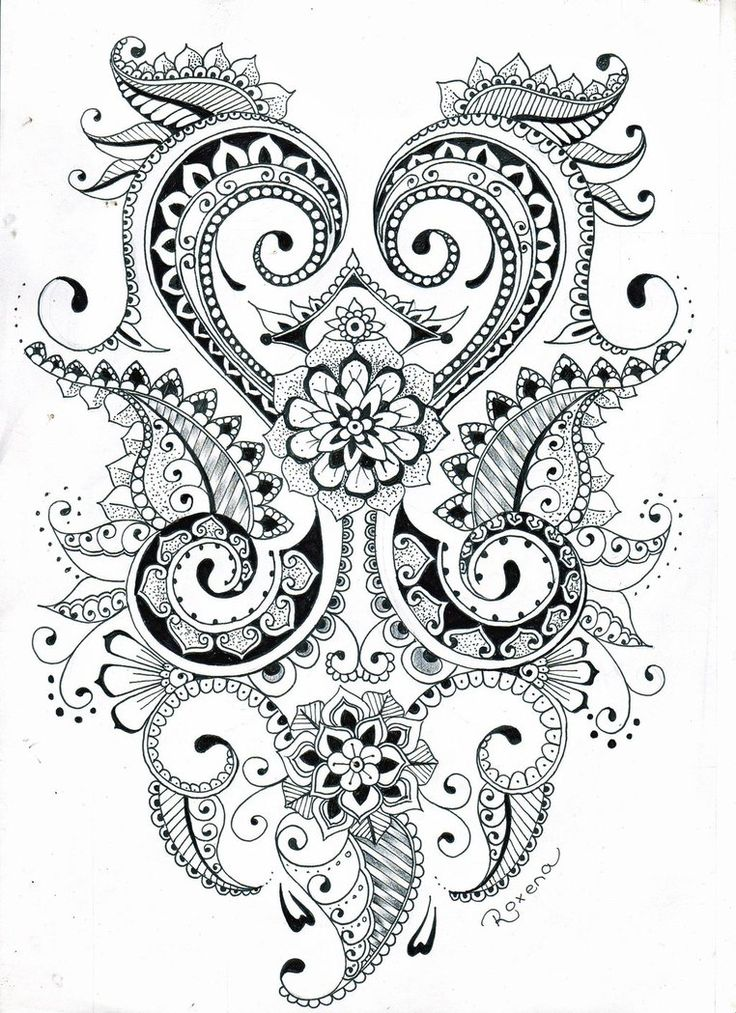 American Hippie Zentangle Coloring Page Art ☮ Paisley