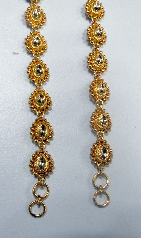 22 K solid gold earrings hair chains ear chains ...
