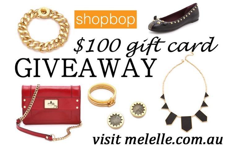 http://www.melelle.com.au/2012/07/08/mel-and-elles-first-ever-giveaway: Elle Giveaway, Gift Cards, 100 Gift, Melelle Shopbop Giveaway, Kitchenaid Giveaway