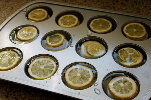 Freeze fruit and water in cupcake pans - it will add flavor and keep cold
