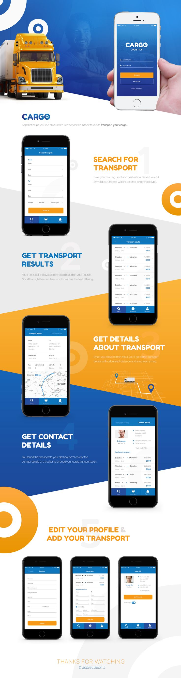 Cargo transport app on Behance