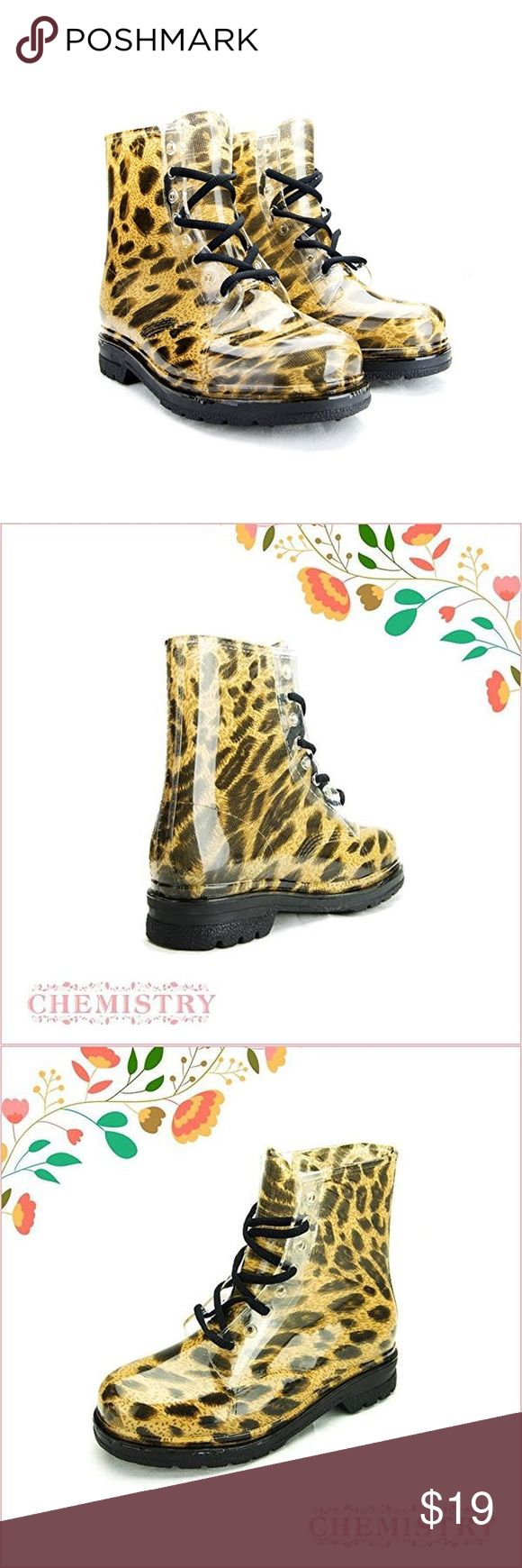 Military Style. Leopard Print Short Rain Boots Grab your umbrella to make a fun splash in these fun military style short Rain boots!  Very fashion.  We sell them in brand new condition in its shoe box. We have all sizes available! Size 6 through 10 Chemistry Shoes Winter & Rain Boots