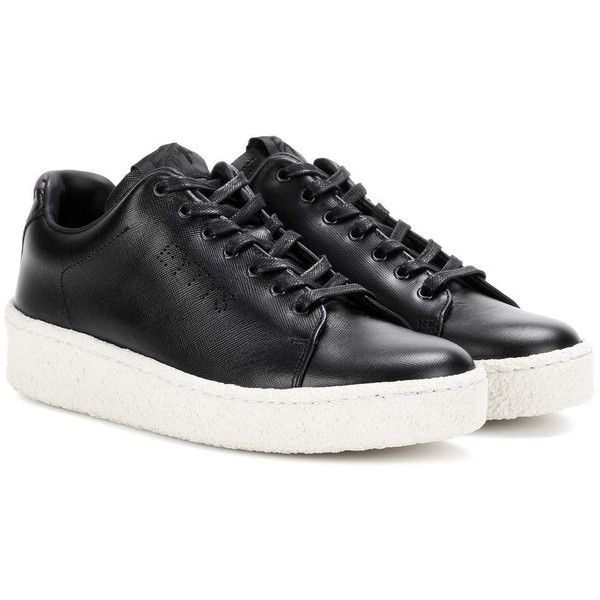 Eytys Ace Leather Sneakers ($360) ❤ liked on Polyvore featuring shoes, sneakers, black, leather footwear, kohl shoes, eytys shoes, black trainers and black leather trainers
