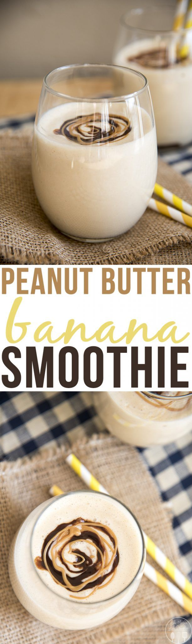 Peanut Butter Banana Smoothie - This deliciously creamy smoothie is only 5 ingredients, and blends together in just minutes. Its got the perfect peanut butter and banana flavors for a delicious smoothie everyone will love!