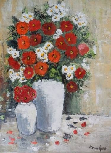 Flowers in a white vases