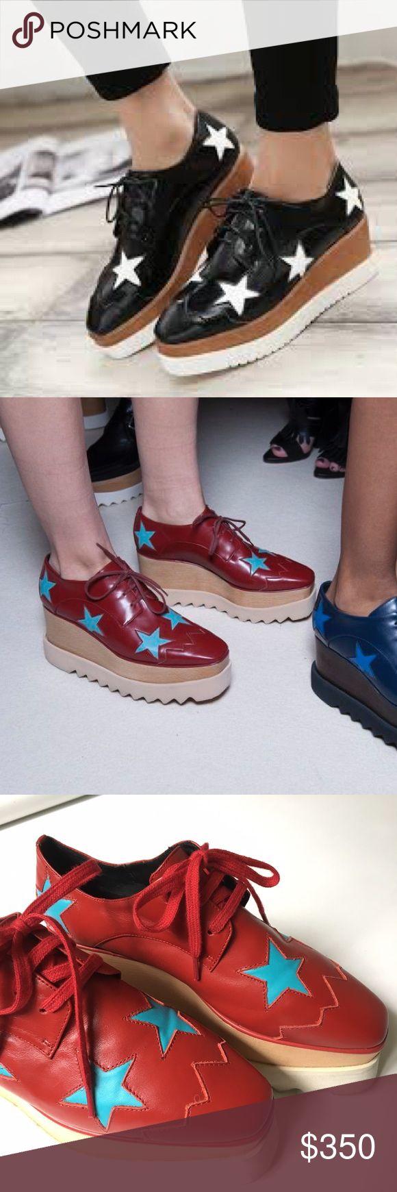 Stella McCartney platform oxford Red shoe wig blue stars by Stella  maccartney Stella McCartney Shoes Platforms