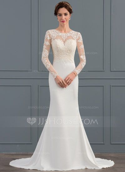 fcea9a1cd088a Trumpet/Mermaid Illusion Sweep Train Stretch Crepe Wedding Dress ...