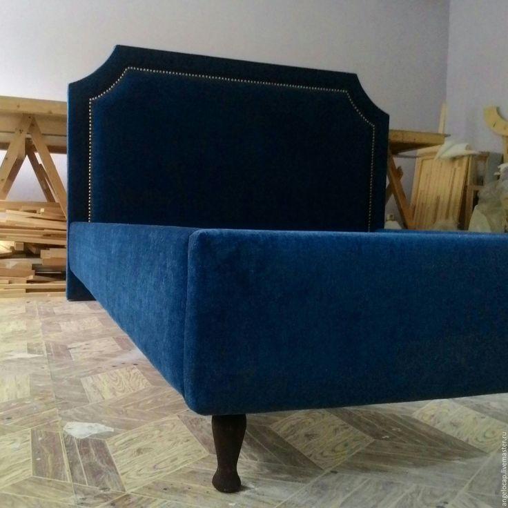 Купить Кровать - синий, кровать, изголовье кровати, мебель ручной работы, мебель для кукол
