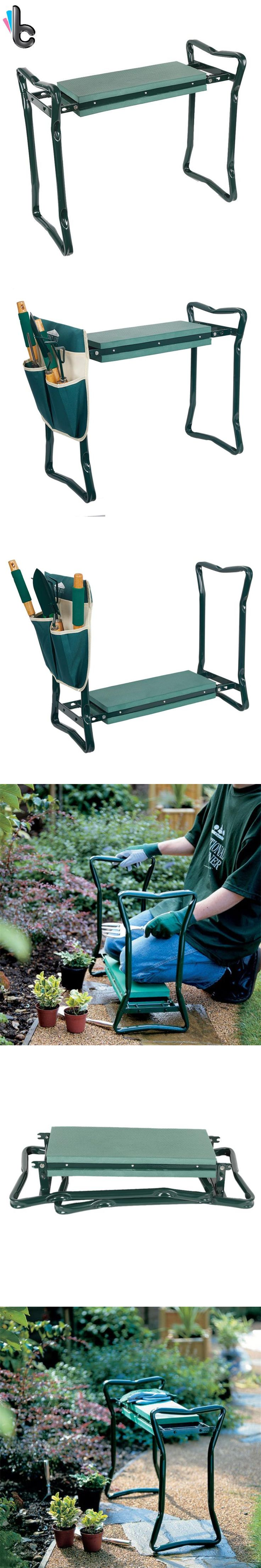 Garden Chair Garden Stool Folding Stainless Steel Garden Kneeler Stool with EVA Kneeling Pad Gardening Portable Tool