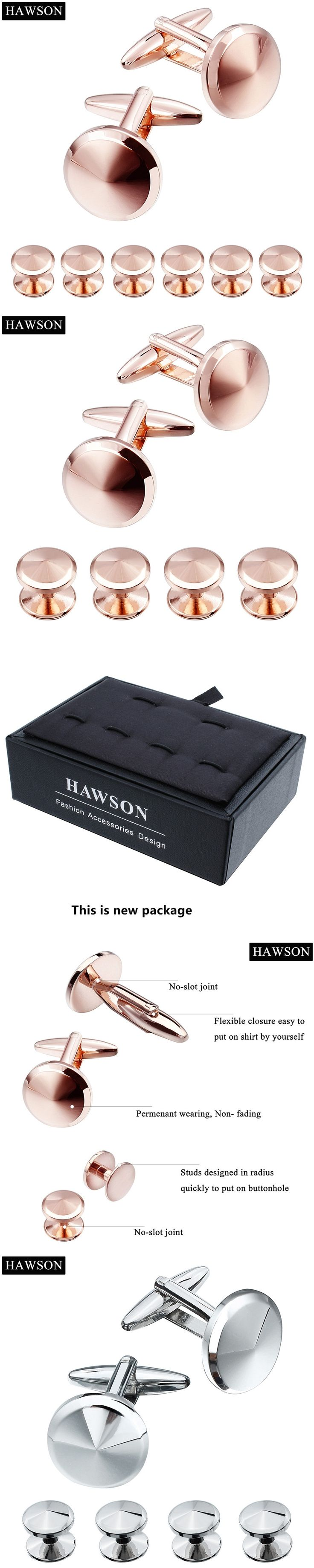 HAWSON Metal Cufflinks Studs Set Rose Gold Color Tuxedo Shirt Cuff links&Studs with Gift Box