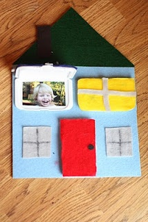 peek-a-book house (using tops from travel wipes pkgs).  possibly expand or use as page in quiet book
