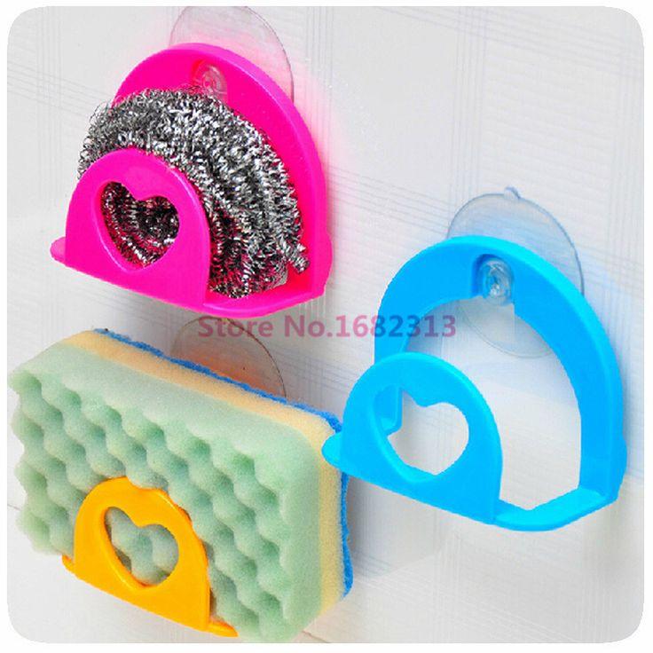 New Sucker Dishcloths Storage Kitchen Utensils Gadget Dish Cloth Sponge Suction Cup Wall Box Holder Mount Sink Tub MK-1