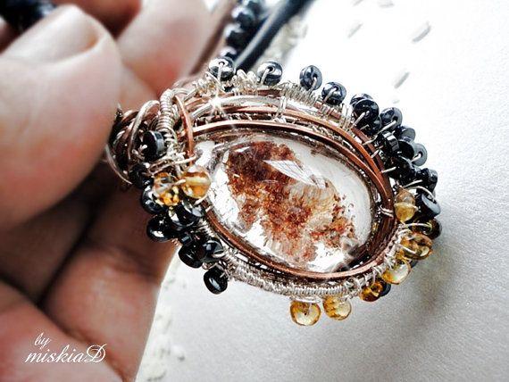 Phantom Quartz Pendant, Wire Wrapped Quartz Pendant, Ghost Quartz Pendant Necklace, Black Pearl Necklace, Healing Jewelry