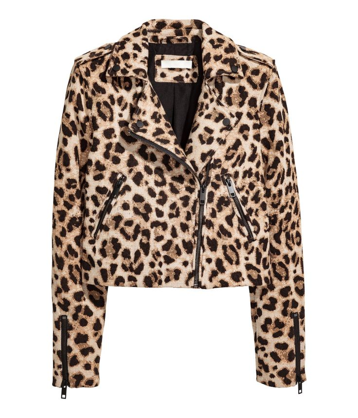 Leopard print. Short biker jacket in thick, textured-weave cotton fabric with a collar and diagonal zip. Shoulder tabs with snap fastener, zip at cuffs, and