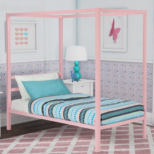 This modern metal canopy bed is the perfect enclave for your child to have a peaceful night's sleep. You can quickly and easily add drapes to accommodate the changing tastes as they grow up in what certainly will be an eye-catching piece. Look no further for the perfect bed for your little princess as the modern metal canopy bed will create the feeling of a room worth of a fairy tale.