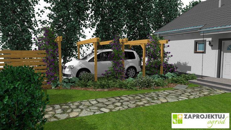 Szpaler brzóz o kolumnowym pokroju przy zachodniej granicy działki wprowadza do ogrodu rytm, a jego dodatkową funkcją jest oddzielnie posesji od sąsiadującej działki. Pergola z zakwitającym pnączem na podjeździe nie tylko ozdabia, ale i osłania zaparkowany pojazd przed nagrzewaniem w upalne dni. http://www.zaprojektuj-ogrod.pl/pl/OrderGardenProject/Index