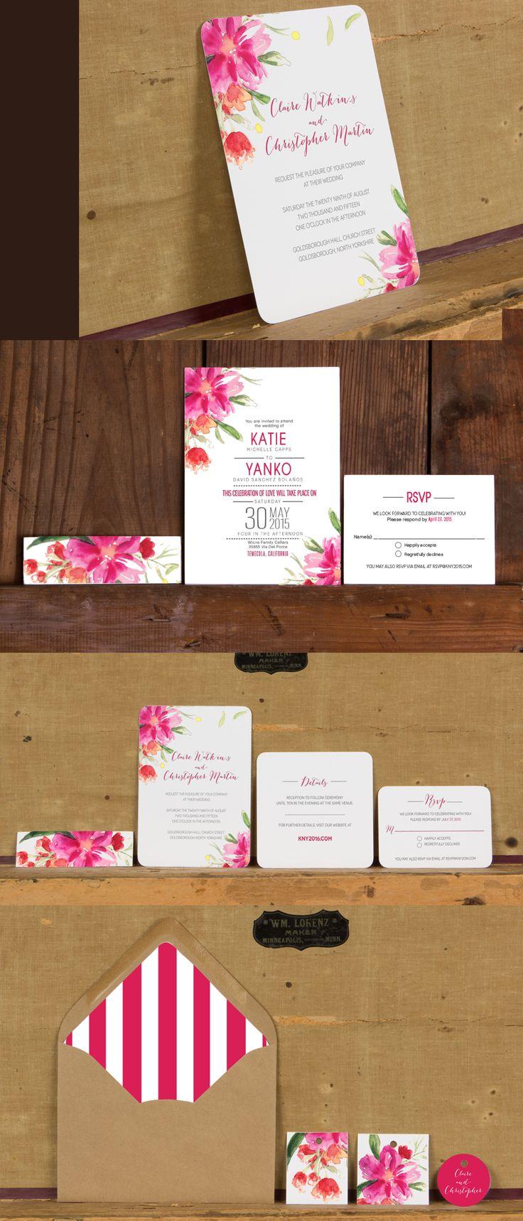 Bright Pink Modern Floral Wedding InvitationsModern Floral