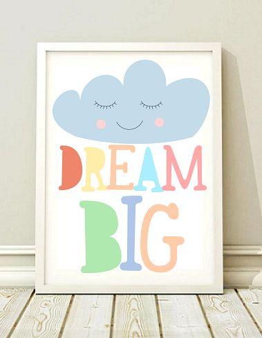 plakat obrazek DREAM BIG prezent A3 - black-dot-studio - Plakaty dla dzieci
