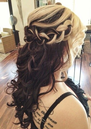 Blonde brown two tone braided hairstyle