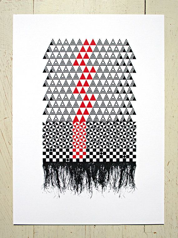Fine Mat  red and black geometric print by EruptPrints