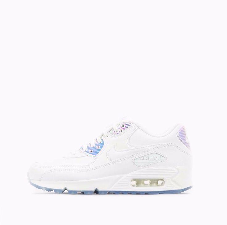 Nike Air Max 90 Premium Women's Shoes White/Blue Tint #Nike #CasualShoesTraiiners
