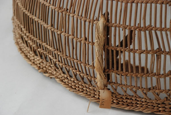How To Weave A Hazel Basket : Detail a large openwork pack basket hupa tribe