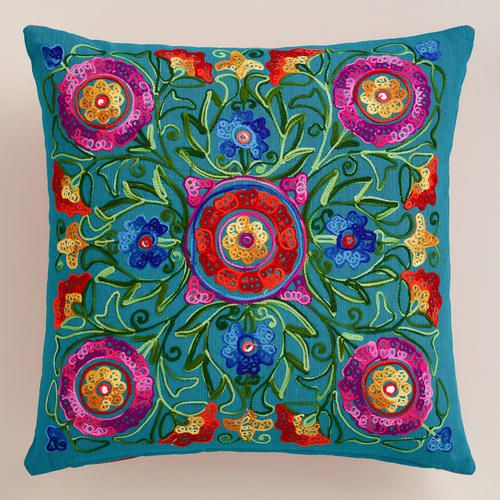 One of my favorite discoveries at WorldMarket.com: Multicolor and Pink Floral Embroidered Throw Pillow