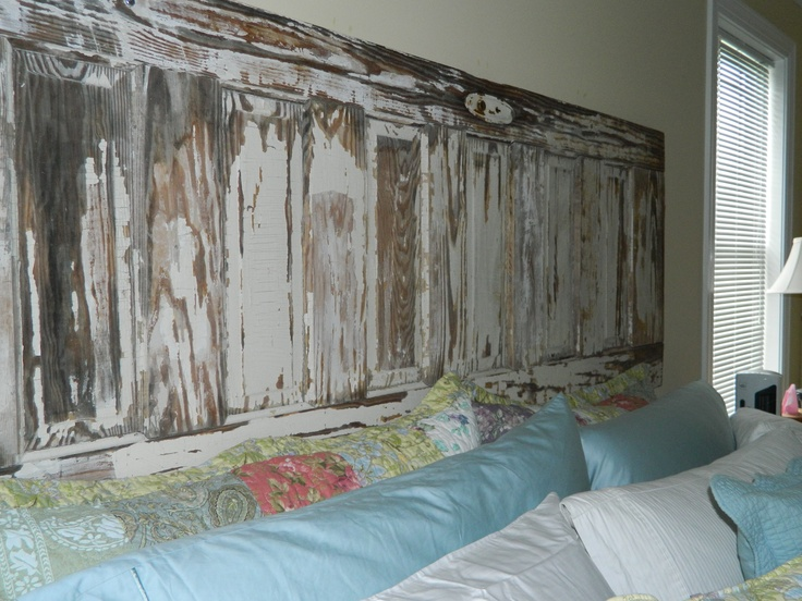 I bought this door at an antiques shop in Wilmington.  It's 100 years old.  Perfect fit for my king sized bed!!