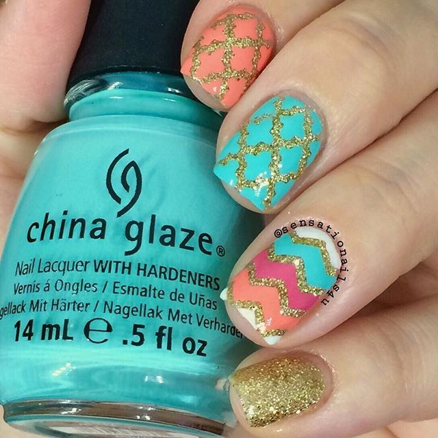 """Glitter Nails emoji @opi_products Glitzerland and Elephantastic Pink @chinaglazeofficial Aquadelic @essiepolish Tart Deco @orlynails Cake Pop Gold loose Glittering from @Michaelsstores """"Best Glue Ever"""" from scraperfect.com Morrocan Nail Stencil and Small Chevron Nail Vinyls all from @snailvinyls ]"""