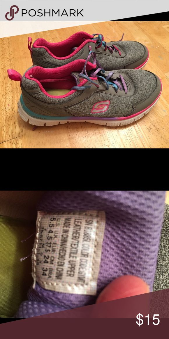 Skechers sport memory foam sneakers Skechers sneakers. Gray. Multicolor laces and trim. Fun! Skechers Shoes Athletic Shoes